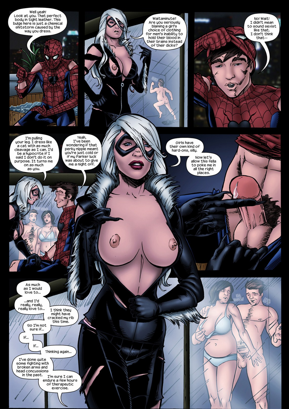 Spiderman black cat porn